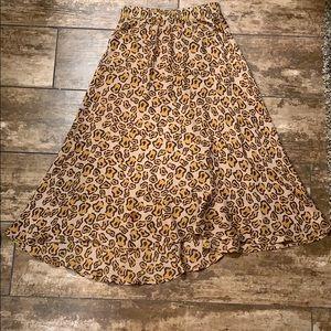 Tucker Silk Leopard Cheetah Animal Midi Skirt XS